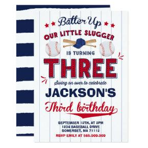 Baseball Birthday Invitation Baseball 3rd Birthday