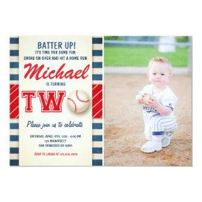 Baseball birthday Invitations Two Boy Sports
