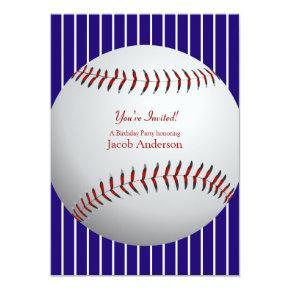 Baseball Birthday Invites (blue stripes)