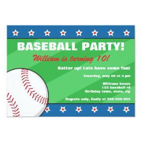 Baseball birthday party Invitations for kids