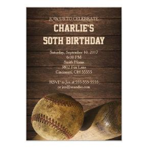 Baseball Birthday Party Invitation Rustic Vintage