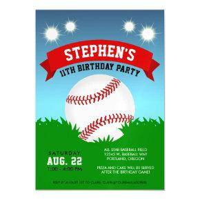 Baseball Birthday Party Magnetic Invitations