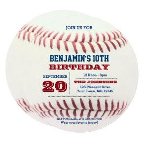 Baseball Birthday Round Invitation
