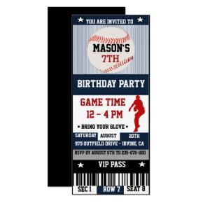 Baseball Birthday Ticket Invitations