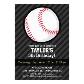 Baseball; Black and Dark Gray Stripes Invitations