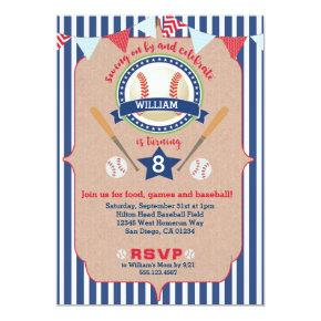 Baseball Boy Birthday Invitations Invite Navy & Red