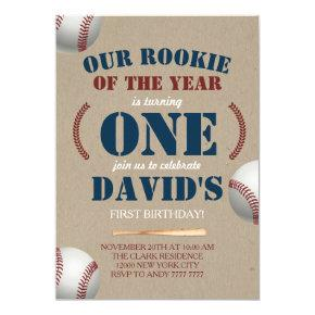 Baseball Boy First Birthday Rookie of the year Invitation