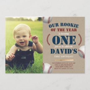 Baseball Boy First Birthday Rookie Photo Picture Invitation