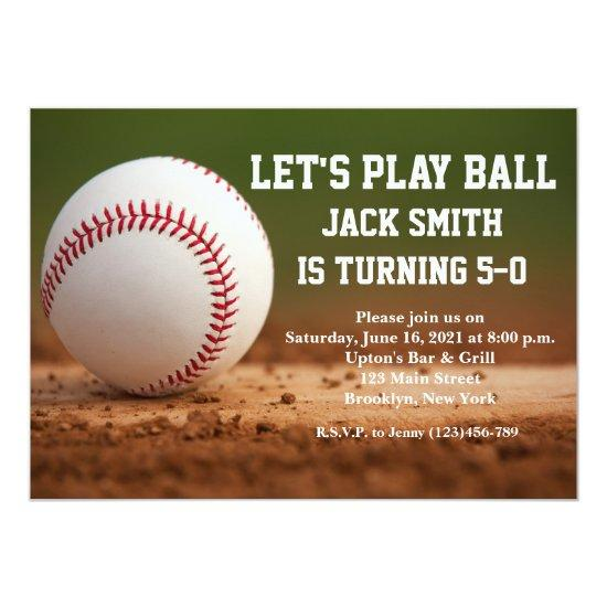 Baseball Custom Man Birthday Invitation