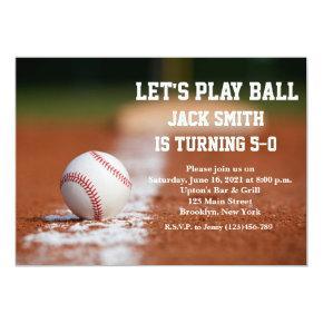 Baseball Custom Man Birthday Invitations