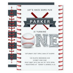Baseball First Birthday Boy Invitation