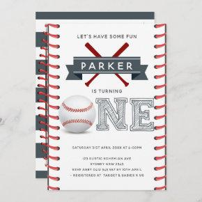 Baseball First Birthday Boy Invitation