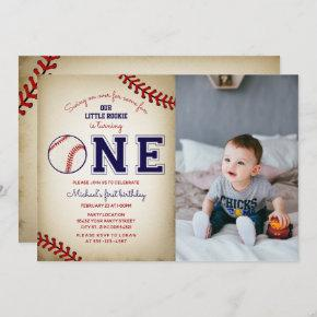 Baseball First Birthday Photo Invitation