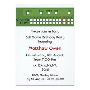 Baseball game scoreboard Birthday Party Invitations