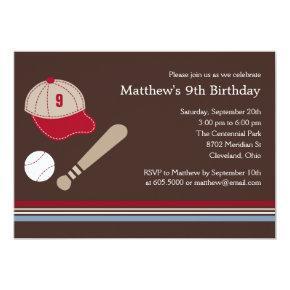 Baseball Gears - Birthday Party Invitations