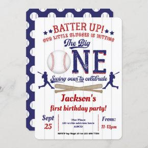 Baseball, Little slugger, First birthday Invitation