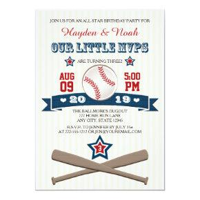 BASEBALL MVP BIRTHDAY INVITATION FOR TWINS