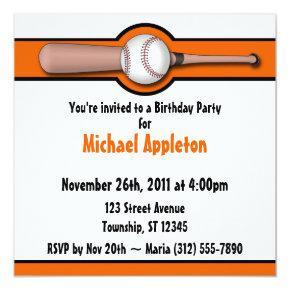 Baseball Orange Birthday Invitations