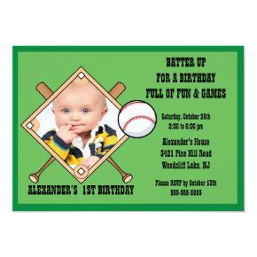 Baseball PHOTO Birthday Invitations