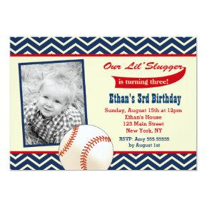 Baseball Photo Birthday Party Invitations