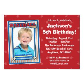 Baseball Photo Birthday Party Red Stars Invitations