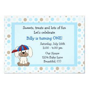 Baseball Puppy 1st Birthday Invitation for Boys