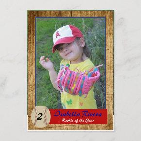 Baseball Rookie  Birthday Invite