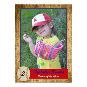 Baseball Rookie Invitations Birthday Invite