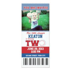 Baseball Second Birthday Invitations