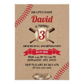 Baseball Sports All Star Rustic Kraft Birthday Invitation