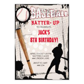 Baseball Sports Birthday Party Invitations