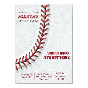 Baseball Stitch Birthday Invitations