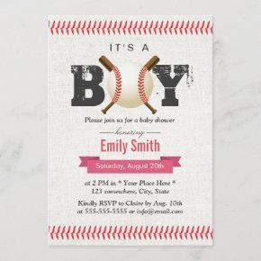 Baseball Stitching It's a Boy Sports Baby Shower Invitation