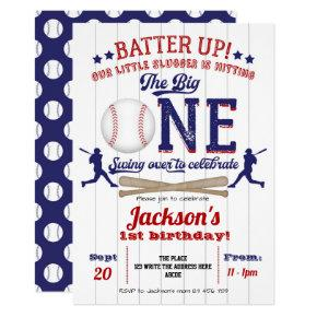 Baseball, the big One, Boy, 1st Birthday Party Invitation