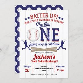 Baseball, the big One, Boy, 1st Birthday Party Invitation