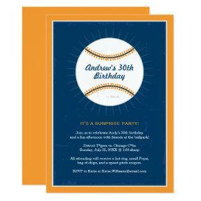 Baseball Theme Birthday Invitations | Blue Orange