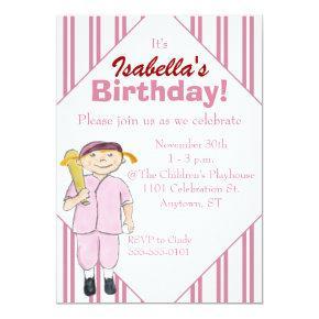 Baseball-Themed Girl's Birthday Party Invitations