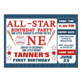 Baseball Ticket 1st Birthday Party Invitation