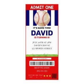 Baseball Ticket Birthday Boy Sport Party Invitation