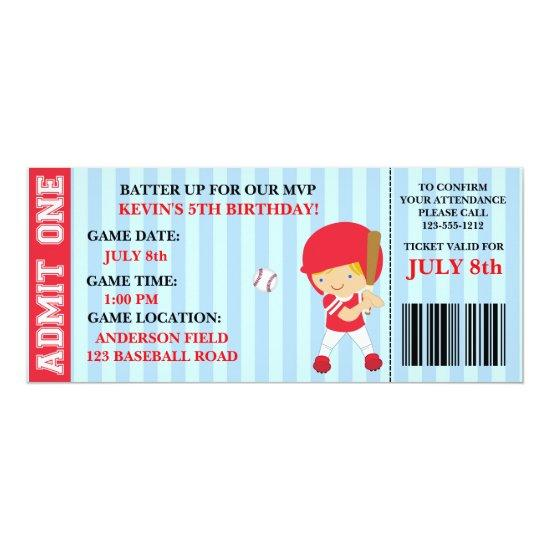 Baseball Ticket Birthday Invitation Customizable Candied Clouds
