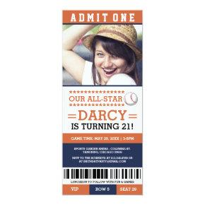 Baseball Ticket Birthday Invites
