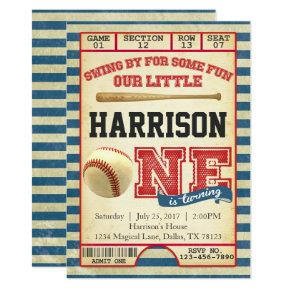 Baseball Ticket Birthday Party Invitation Invite