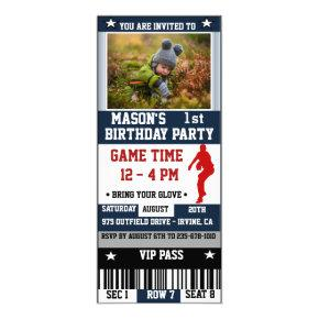 Baseball Ticket Birthday Photo Invitations