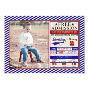 Baseball Ticket Photo Birthday Invitation