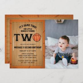 Basketball 2nd Birthday Photo Invitation
