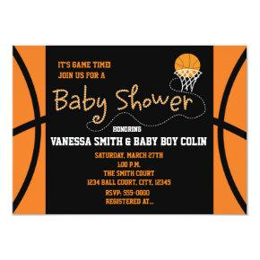 BASKETBALL BABY SHOWER Typography Party Invitations