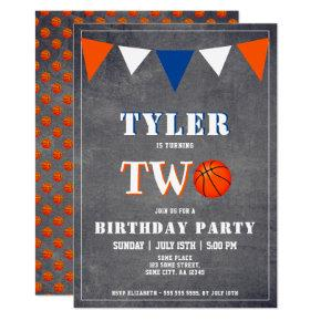 Basketball Birthday Invitation Boy 2nd Birthday