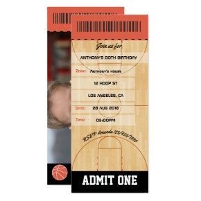 Basketball Birthday Party add photo Ticket Invitation