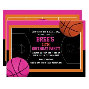 Basketball Birthday Party Black Pink & Orange Invitation