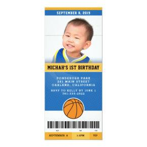 Basketball Birthday Party Invitation (Blue & Gold)